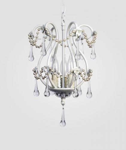 White Tiffany Chandelier with Pearls by Maura Daniel