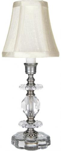 Small Greta Clear Crystal Lamp by Maura Daniel (White Queen Shade)