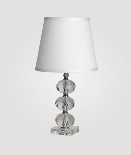 Small Vienna Clear Crystal Lamp by Maura Daniel (White Countess Shade)