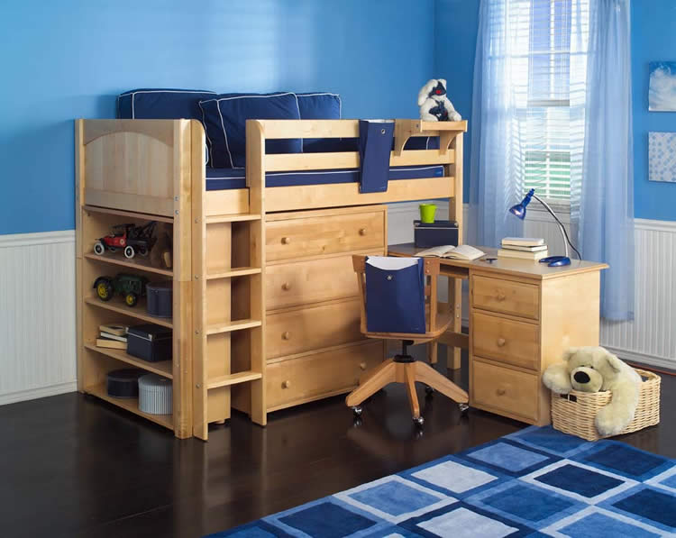 Maxtrix Kids Mid Loft Storage Bed W Desk Natural 636
