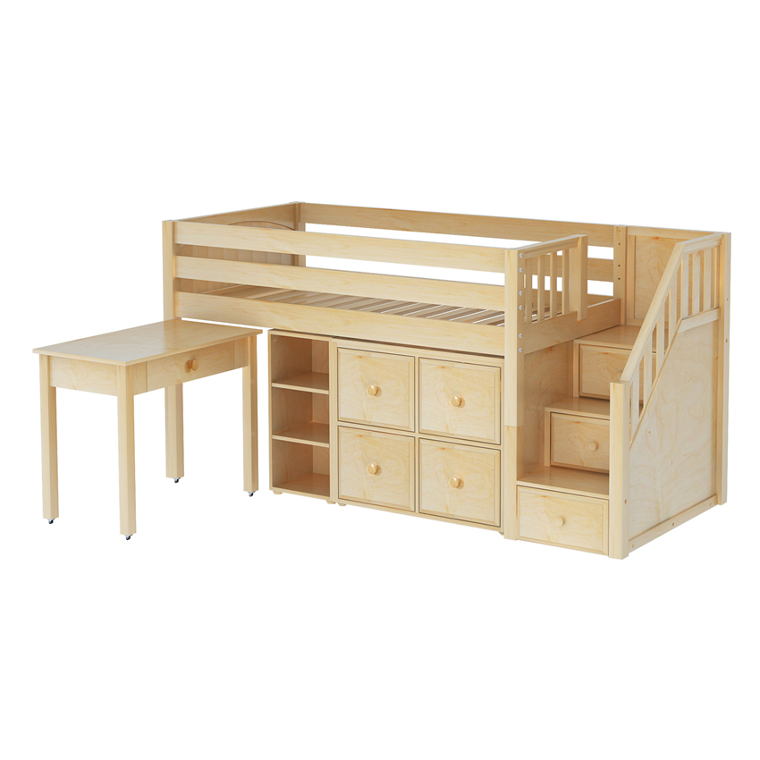 Low Loft W Desk Bookcase And 4 Cube Unit In Natural