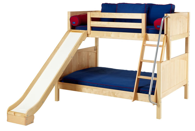 Natural Twin over Full Bunk Bed w/ slide by Maxtrix Kids (840)