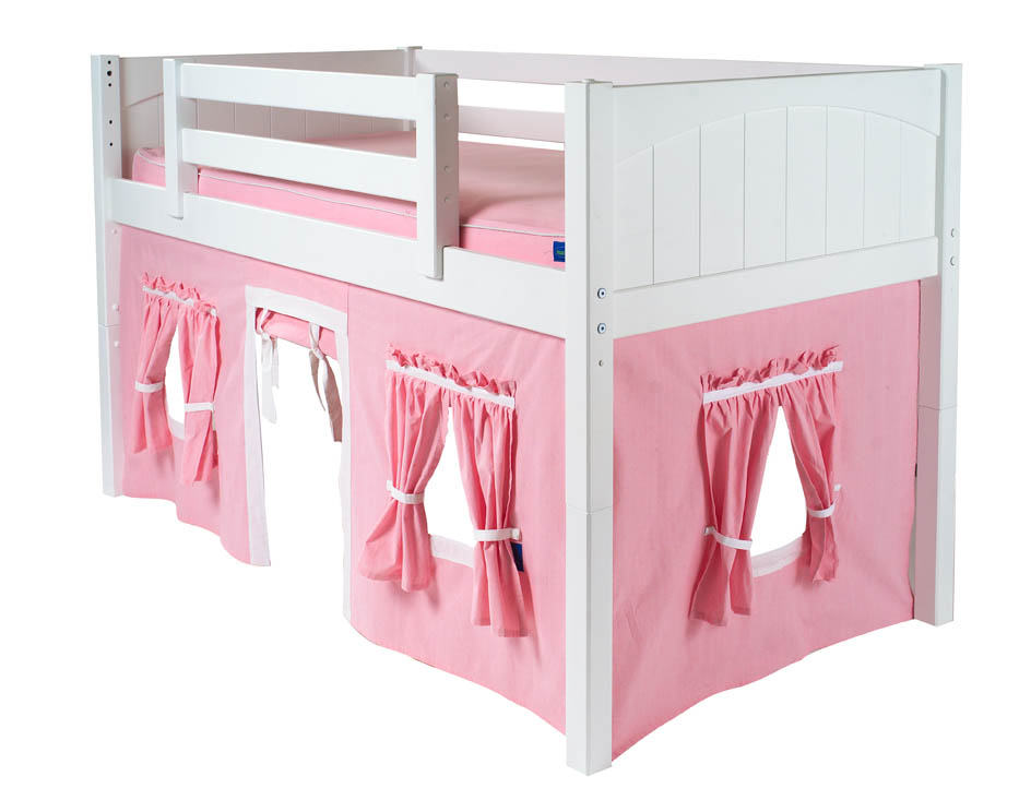 Playhouse Loft Bed w/ Slide by Maxtrix Kids (pink/white on white)
