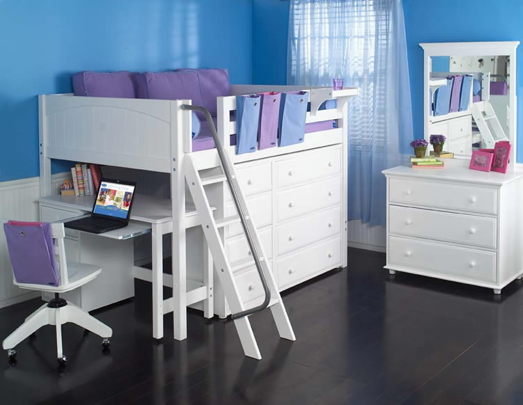 Full size study loft bed by maxtrix kids white 638 for Full bed and dresser