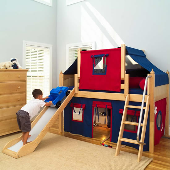 Story Play Fort LOW Loft Bed w/ Slide by Maxtrix Kids (blue/red on ...