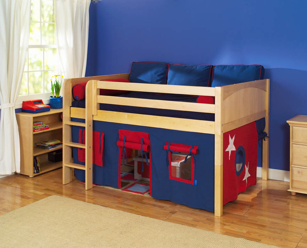 play fort low loft bed by maxtrix kids blue red on natural 300 1. Black Bedroom Furniture Sets. Home Design Ideas