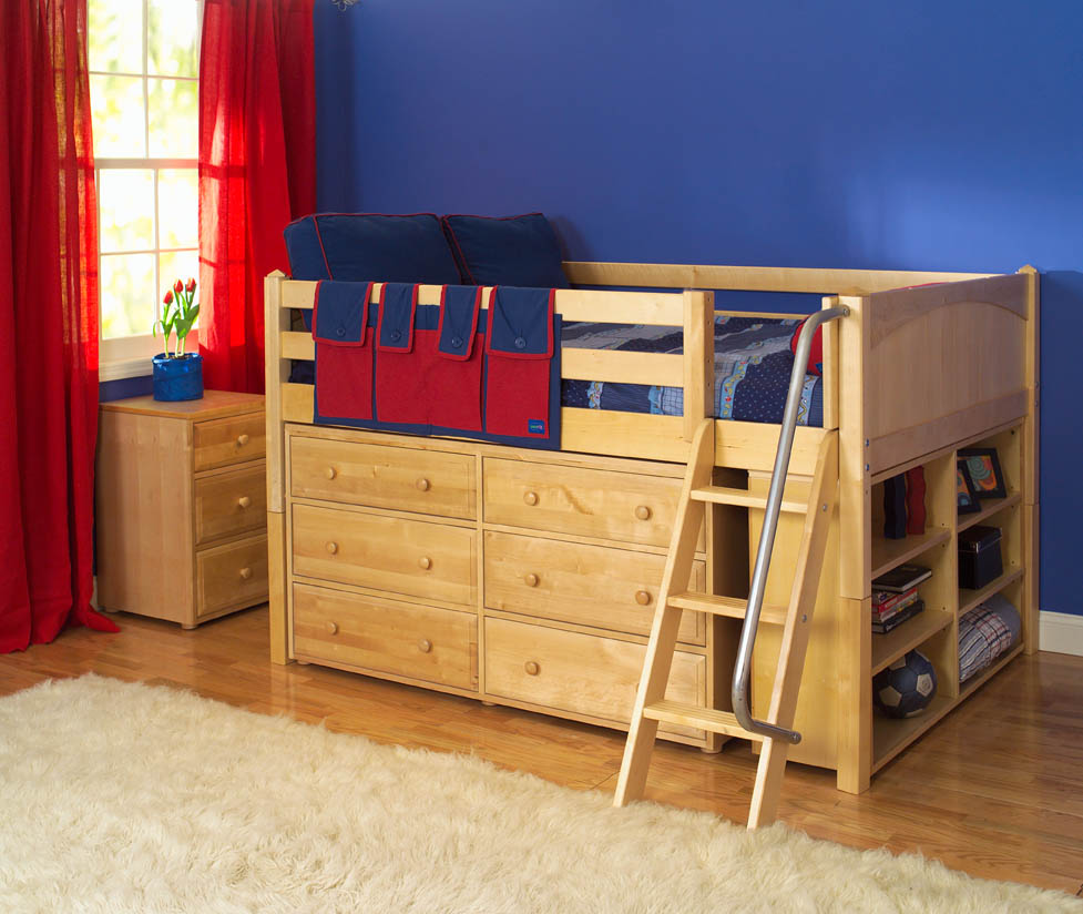 Maxtrix Kids Low Loft Bed w/ Built In Dresser & Bookcase (natural ...