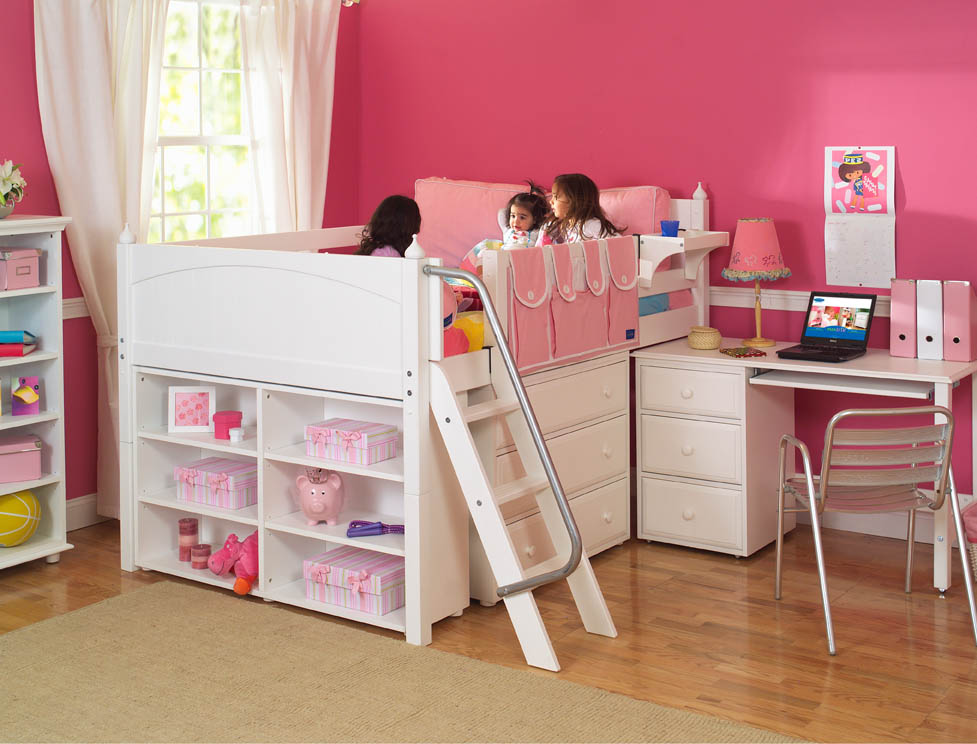 Girl 39 s storage bed with desk by maxtrix kids white 606 Kids loft bed with desk