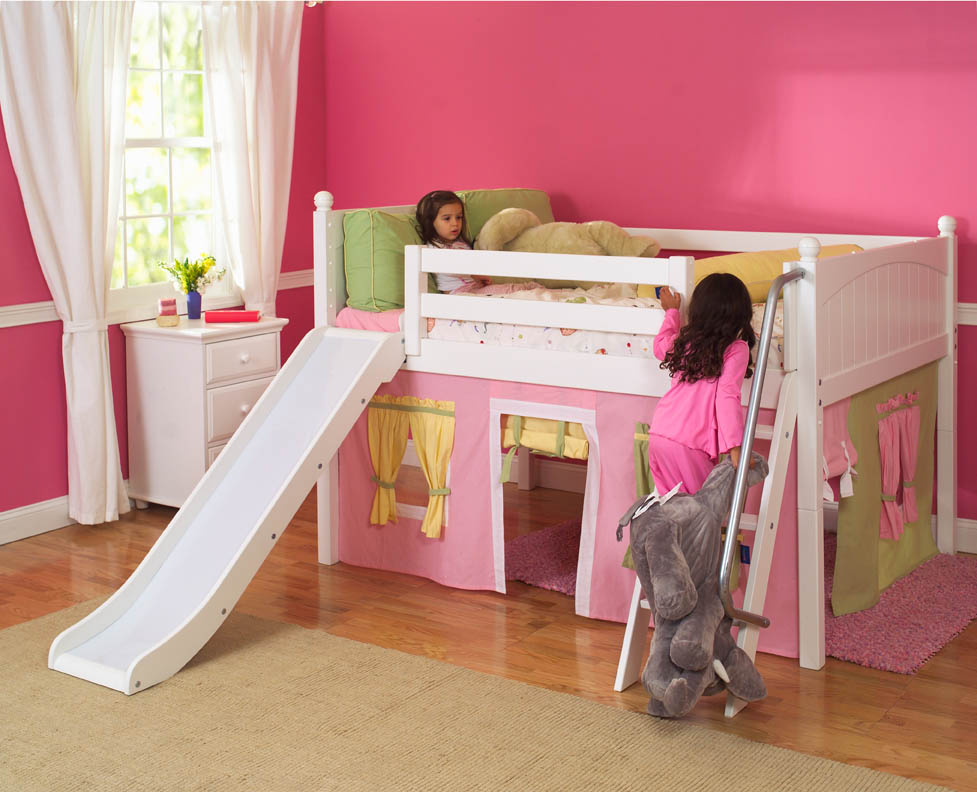 playhouse low loft bed w slide by maxtrix kids pink yellow green on white. Black Bedroom Furniture Sets. Home Design Ideas