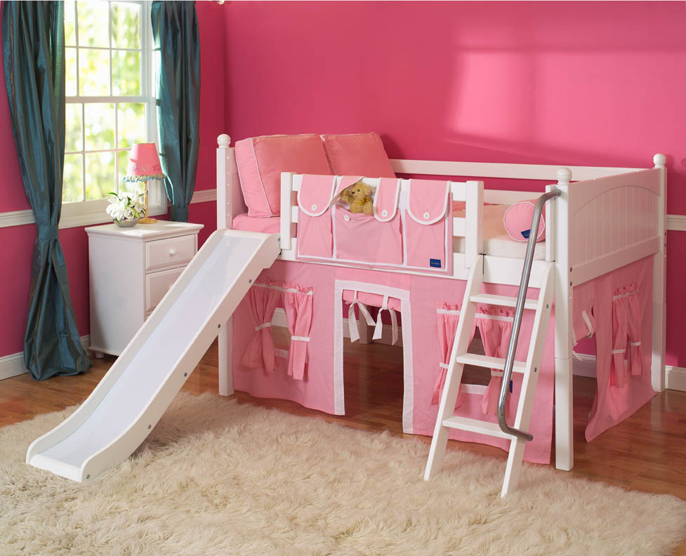 playhouse loft bed w slide by maxtrix kids pink white on white. Black Bedroom Furniture Sets. Home Design Ideas
