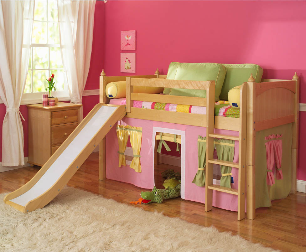 Childrens beds with desk and slide home decorating ideas for Toddler bunk beds
