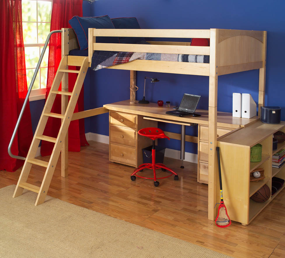Knockout high loft bed with desk and 2 drawers in natural Kids loft bed with desk
