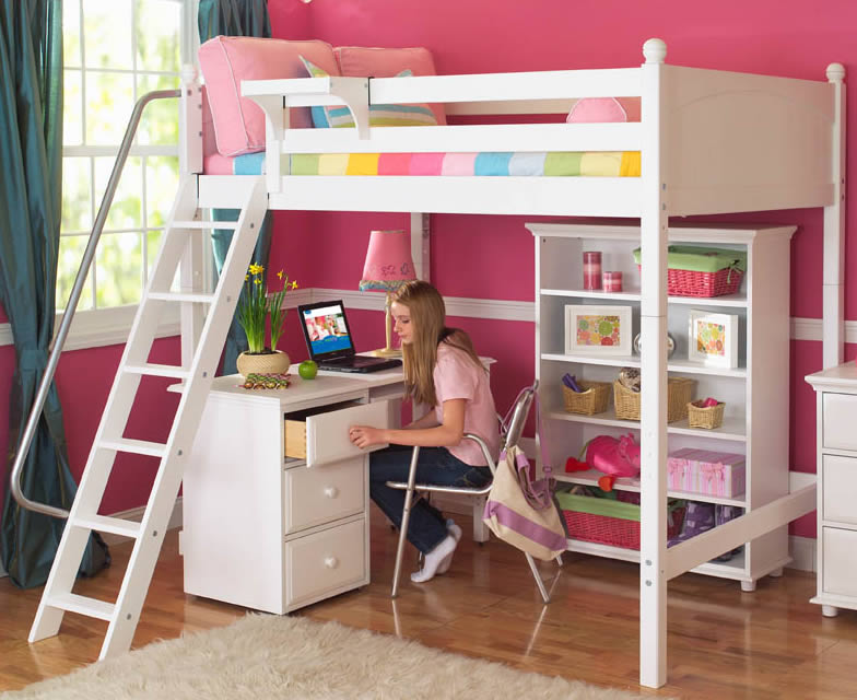Maxtrix Kids High Loft Bed (shown with desk & bookcase, white) (