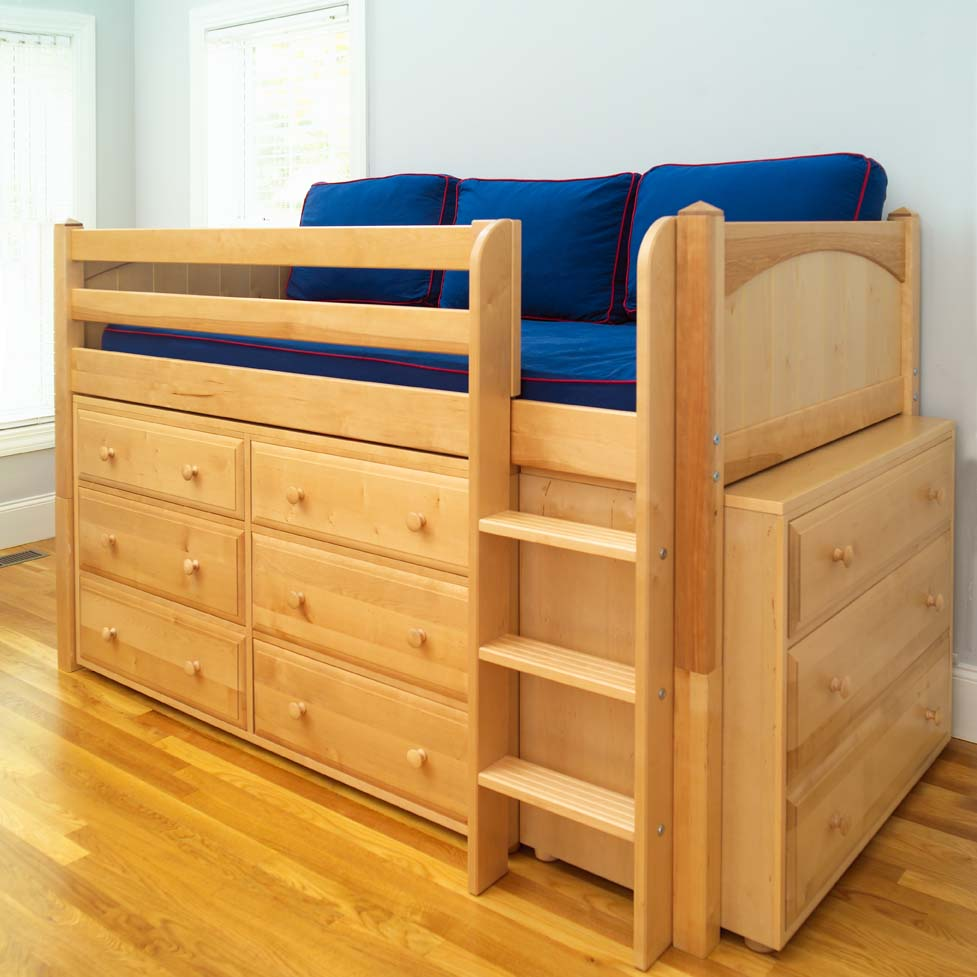 Twin low loft bed with built in dressers by maxtrix kids natural 600 - Kids bed with drawers underneath ...