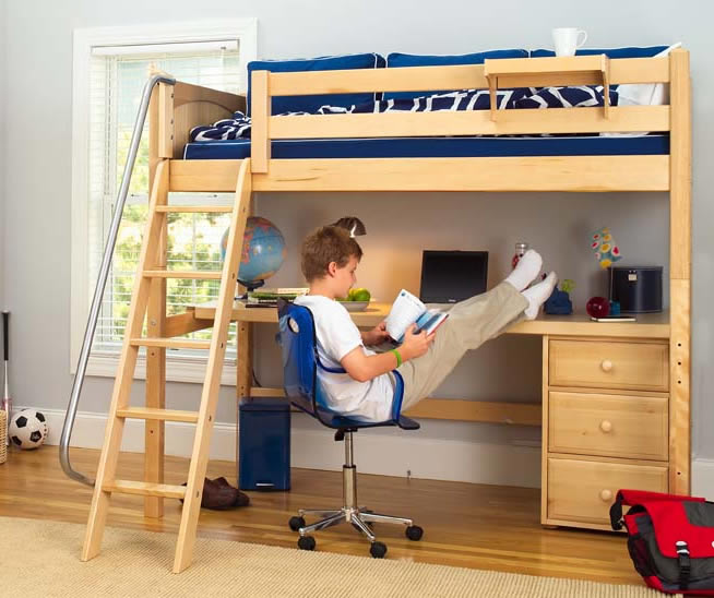 Knockout high loft bed with desk and 1 drawer in natural Kids loft bed with desk