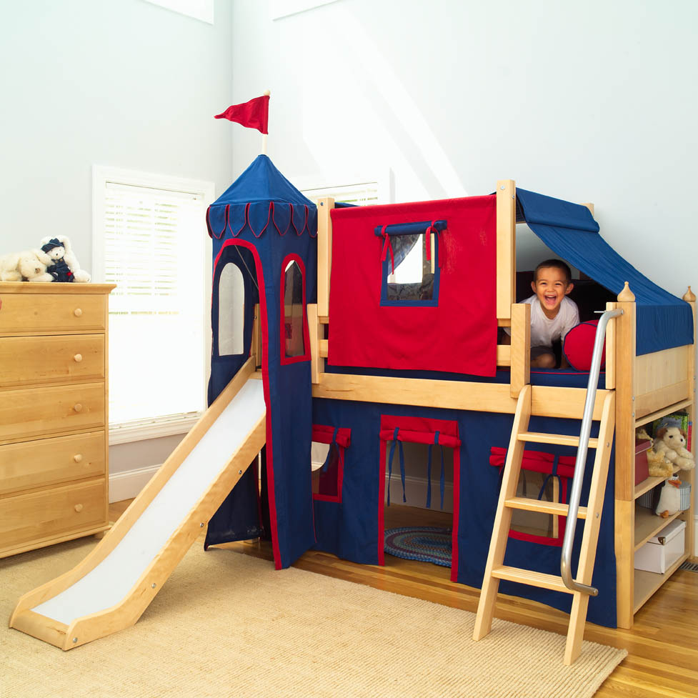King S Castle Bed With Slide By Maxtrix Kids Blue Red