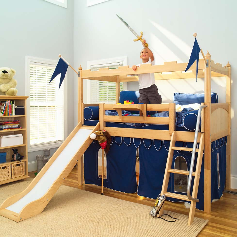 Camelot castle low loft bed with slide by maxtrix kids 395 - Toddler beds for boys ...