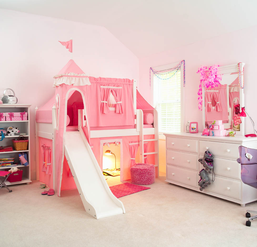 Pink Princess Castle Bed With Slide By Maxtrix Kids 370