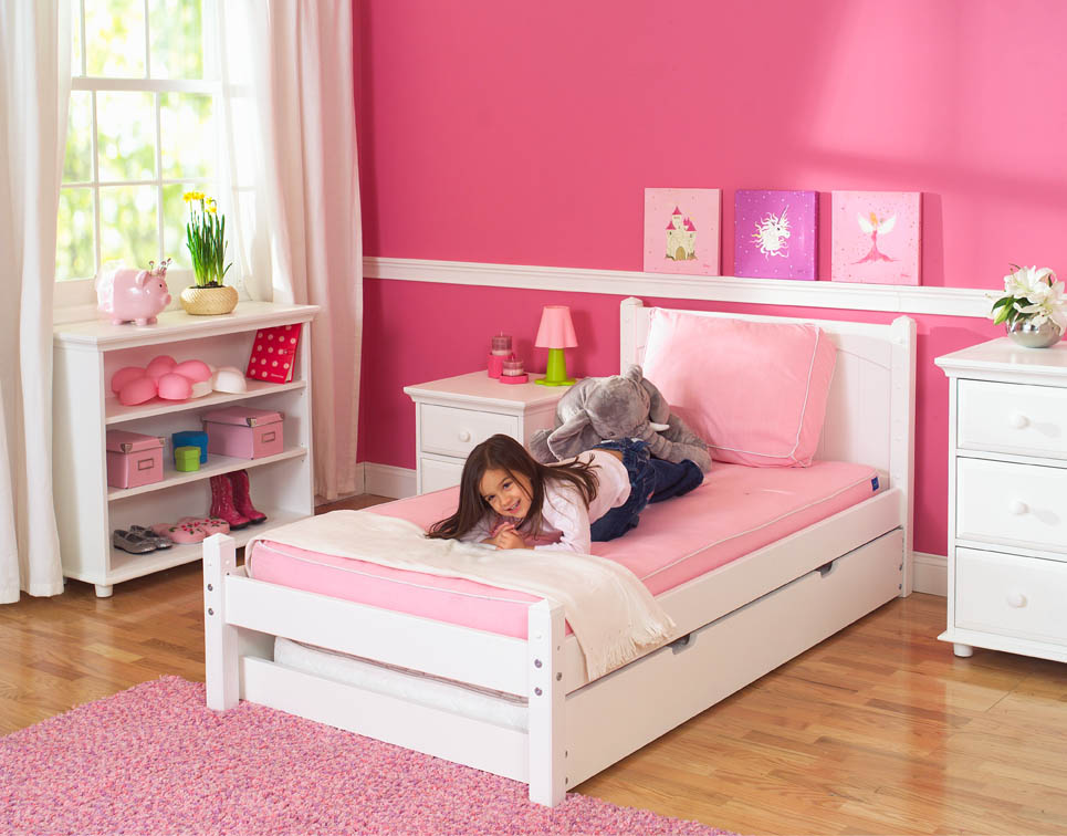 White platform bed by maxtrix kids shown w trundle bed for Kids bed design
