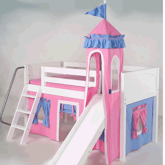 info for e21a7 6ddcb Mini Castle Bed for Girls in White by Maxtrix Kids (hot pink/blue) (360)