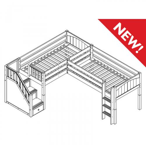 2-Story Play Fort Low Loft Bed by Maxtrix Kids (blue/white on natural) (300.2)