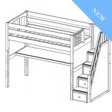 Enormous 11 High Study Loft by Maxtrix Kids: Full, Chestnut, Panel, Desk, Stairs