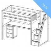 Enormous 12 High Study Loft by Maxtrix Kids: Twin, Chestnut, Curved, Desk, 3 Drawers, Stairs