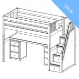 Enormous 13 High Study Loft by Maxtrix Kids: Twin, White, Curved, Desk, 6 Drawers, Stairs