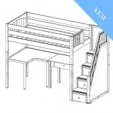 Enormous 14 High Study Loft by Maxtrix Kids: Twin, Chestnut, Curved, Desk, Stairs