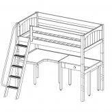 Jib Jab 4 High Study Loft by Maxtrix Kids: Twin, White, Panel, Desk