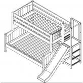 Merge ToF Bunk Bed by Maxtrix Kids: Chestnut, Panel, Full, Slide