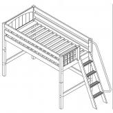 Pack Mid Loft by Maxtrix Kids: Natural, Curved, Twin, Side Ladder