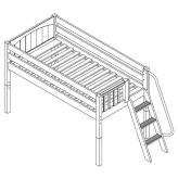 Right Low Loft by Maxtrix Kids: White, Slats, Side Ladder