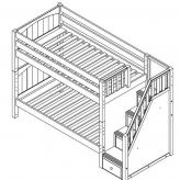 Stellar Med Bunk Bed by Maxtrix Kids: Chestnut, Slats, Twin, Stairs