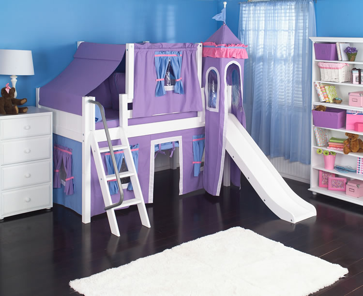 Purple Princess Castle Bed With Slide By Maxtrix Kids 370