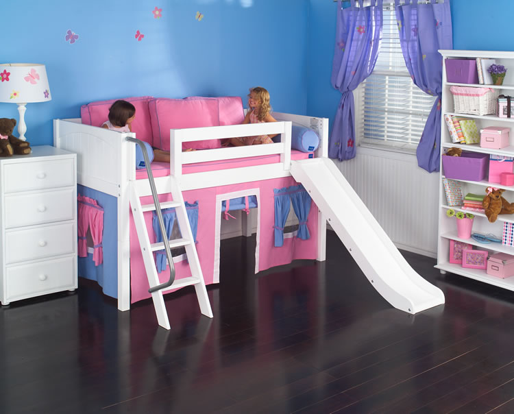 Playhouse LOW Loft Bed W Slide By Maxtrix Kids Hot Pink