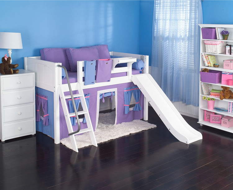 Playhouse Low Loft Bed W Slide By Maxtrix Kids Purple