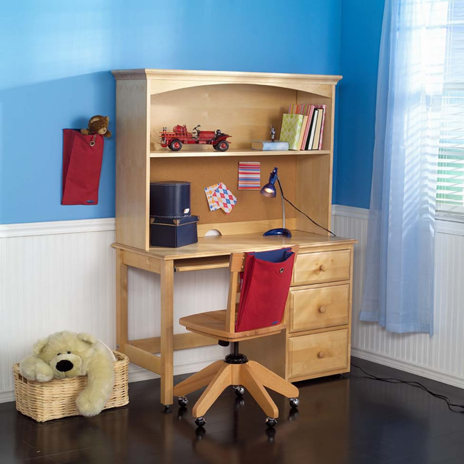 student desk with hutch by maxtrix kids shown in natural