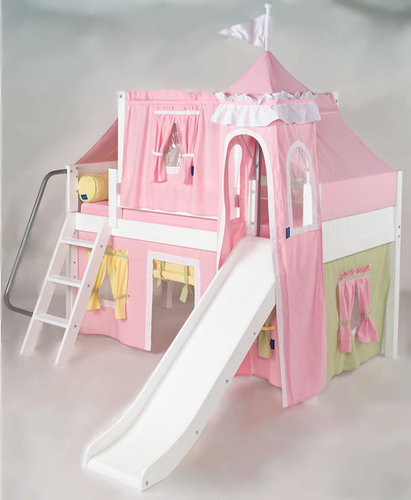 Pink green yellow princess castle bed with slide by for Princes bed