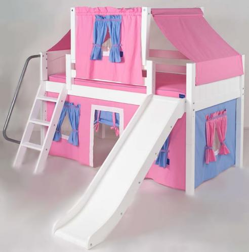 2-Story Playhouse LOW Loft Bed w/ Slide by Maxtrix Kids (hot pink/blue on white) (320.2)