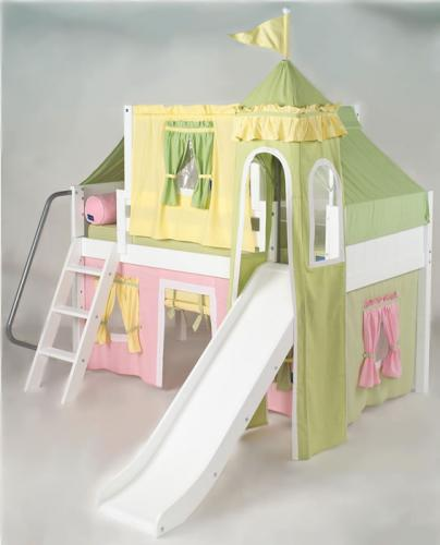 Pink/Green/Yellow Princess Castle Bed with Slide by Maxtrix Kids, green/yellow top (370)