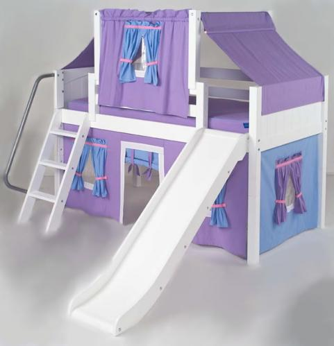 2 Story Purple Playhouse Low Loft Bed W Slide By Maxtrix
