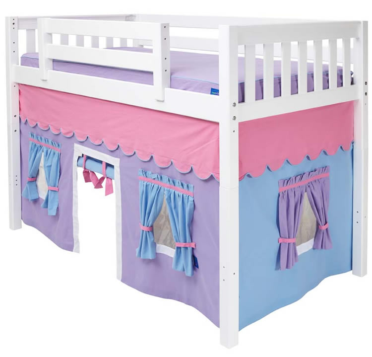 Mid loft bed with tent by maxtrix kids purple blue pink on white