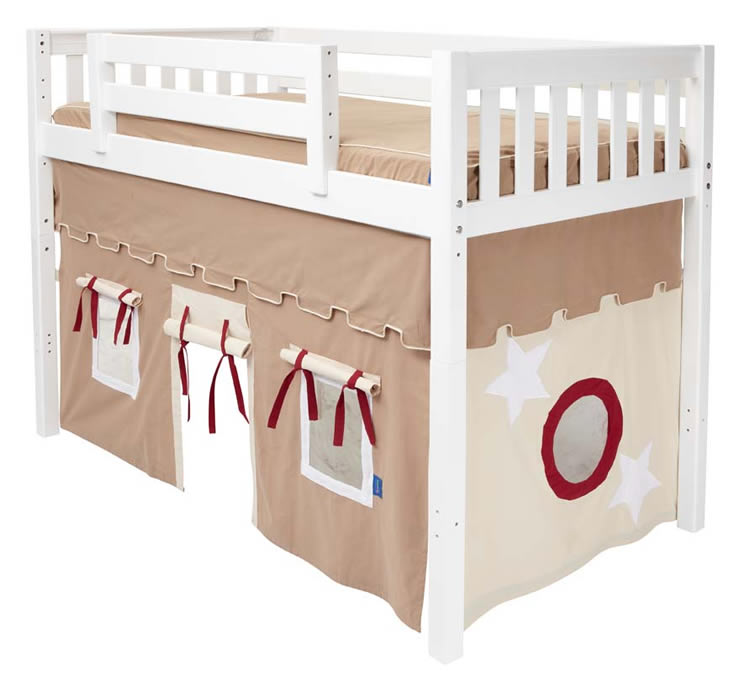 sc 1 st  Sweet Retreat Kids & Play Fort MID Loft Bed by Maxtrix Kids (khaki/red on white) (400.1)