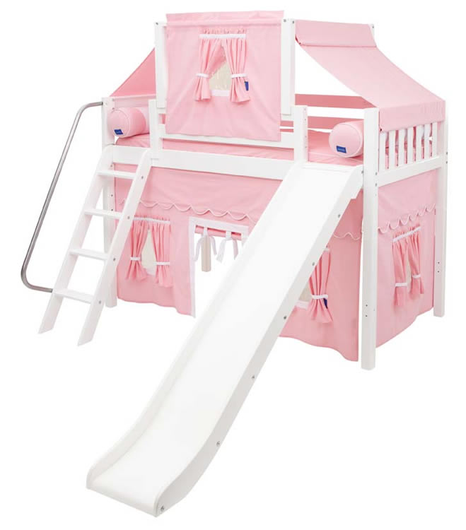 2 story playhouse mid loft bed w slide by maxtrix kids pink white on white. Black Bedroom Furniture Sets. Home Design Ideas