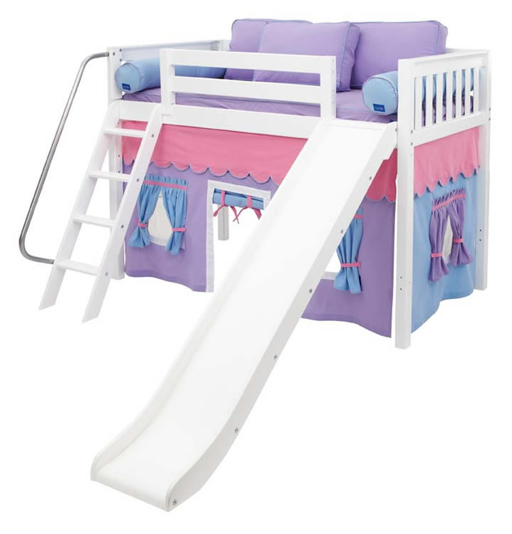 white mid loft bed w slide by maxtrix kids pink purple blue on white. Black Bedroom Furniture Sets. Home Design Ideas
