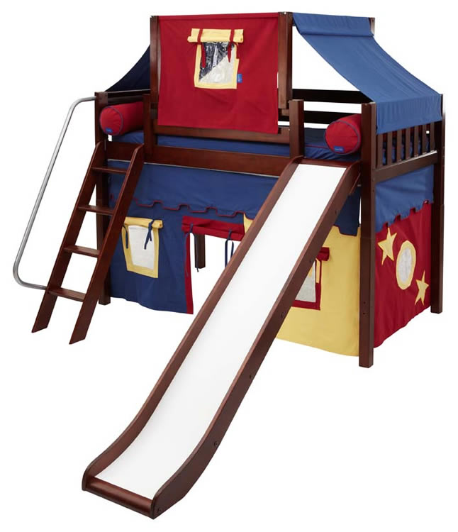 2 story play tent mid loft bed w slide by maxtrix kids blue red yellow on chestnut. Black Bedroom Furniture Sets. Home Design Ideas