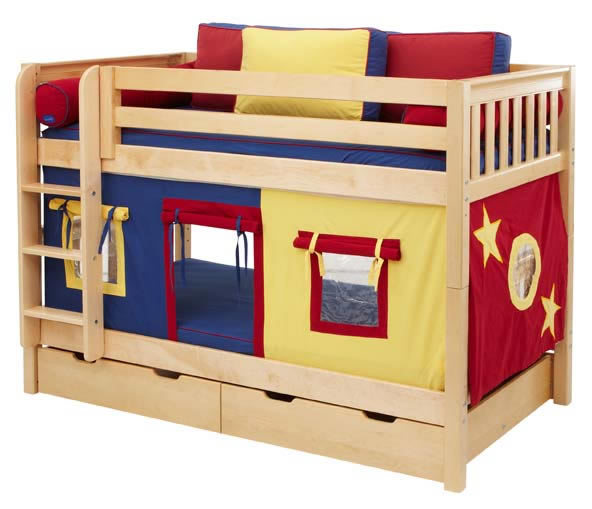 Solid Wood Bunk Bed By Maxtrix Kids Blue Red Yellow On Natural