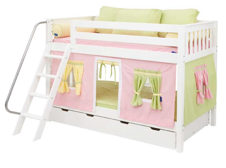 White Hot Hot Bunk Bed By Maxtrix Kids Pink Yellow Green Playhouse