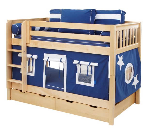 Boys 39 Play Fort Bunk Bed By Maxtrix Kids Navy Blue White